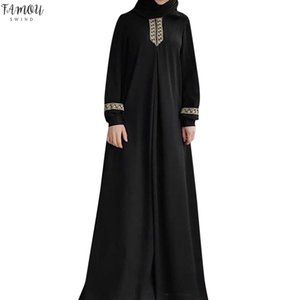 Plus Size Women Dress Imprimer Abaya Jilbab Muslim Maxi Dress Avslappnad Kaftan Robes longues et amples Vestidos / PT