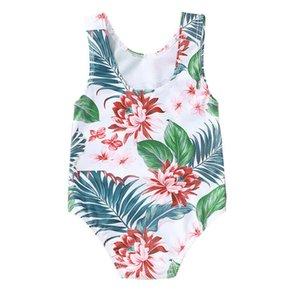 2020 Fashion Trend Newborn Baby Girls Summer Swimsuit Floral Tropical Rainforest Plant Print One Piece Swimsuit Bikini Swimwear