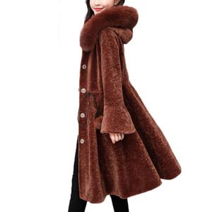 YAGENZ 3XL Kürk Kadın Koyun Kırpma Palto Kürk Yaka Yün Kış Ceket Kadınlar kış uzun yün ceket tasarımcı A349