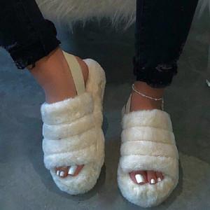 New Design Primavera novos fabricantes atacado Confortável selvagem Fur Chinelos imitação de peles Sandálias grande atacado Chinelos Tamanho