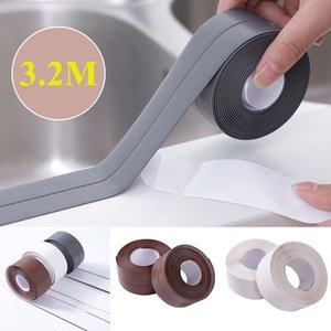 3.2M Auto adhesivo Baño Y pared de sellado de cinta lavabo del fregadero de la cocina guarnición de borde a prueba de agua a prueba de aceite de PVC flexible de sellado de cinta