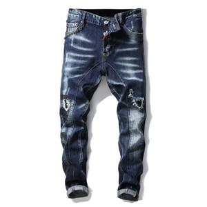 European americano estilo homens magro jeans jeans patchwork reto zíper jeans calças azul buraco marca para homens