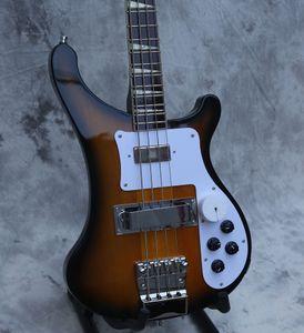 custom electric bass guitar, neck thru bass guitar natural sunburst