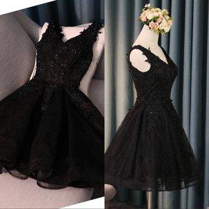 Little Black Cocktail Party Dresses 2019 Neue Linie A-Linie mit V-Ausschnitt, rückenfreie Applikationen, Pailletten, Ballkleid und Ballkleid