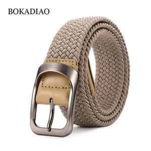 BOKADIAO menwomen эластичный пояс пряжкой Плетение Stretch Холст ремень нейлоновые джинсы ремни для мужчин Waistband Черный ремень мужской