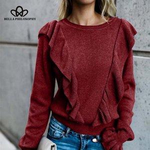 Bella Philosophy Casual Langärmlige Pullover mit Oansatz Rüschen Ärmellose Pullover Rüschen Weibliche ElegantSweater Top 2019