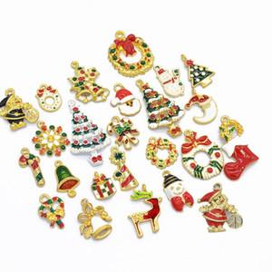 24Pcs / Set Enameled Christmas Charms 골드 크리스마스 Charm 구색 Enamel Holiday Charms 크리스마스 쥬얼리 만들기 용품