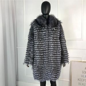 caldo volpe d'argento del cappotto di pelliccia cappotti lunghi naturali di CNEGOVIK donne pelliccia di volpe del cappotto di pelliccia più MX191207 dimensioni