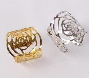 PVD plaqué argent Rose Cutout serviette Anneaux d'or pour Rose Anneaux de serviette Hôtel Banquet de mariage Décoration