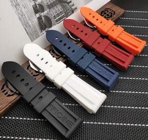 Borracha de silicone pulseira 22 milímetros 24 milímetros 26 milímetros Preto Azul Vermelho Laranja faixa de relógio branco Para Panerai cinta com logotipo T200113