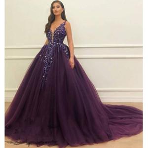 Prinzessin Lila Ballkleid Promkleider Sexy V-Ausschnitt Luxus Crystals Spitze Tulle des Bonbon-16 Kleid Arabisch Abendkleid Abendgarderobe
