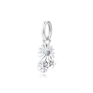 Spring Garden Daisy Bouquet de fleurs Dangle Charm Fit Charms 925 perles bracelets en argent pour la fabrication de bijoux perles Femme Mode bricolage