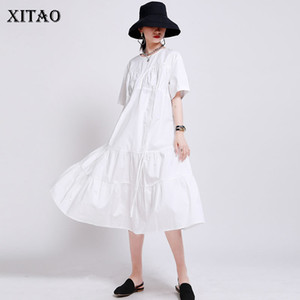 XITAO Pleated Drawstring Black White Dress Women Clothes 2020 Summer New Fashion Casual Pullover Short Sleeve Dress GCC3752