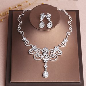Beauty Silver Bridal Jewelry 2 Pieces Sets Necklace Earrings Bridal Jewelry Bridal Accessories Wedding Jewelry T216062