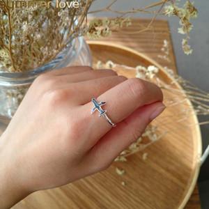 Mode Nette Silber Farbe Flugzeug Offenen Finger Ring Einstellbar Kupfer Flugzeug Für Frauen Flugzeugbesatzung Einzigartige Schmuck Geschenk