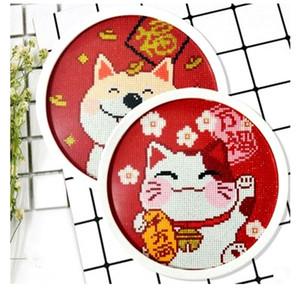 Nuovo diamante cornice rotonda pittura punto croce di diamanti Zhaocai gatto Laifu cane soggiorno mano intarsiato di diamanti