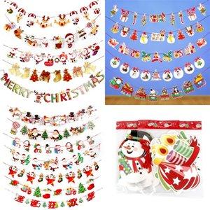 Merry Christmas Pull Flag Calidad del papel Decorar Showbill Paquete de dibujos animados Opp Tirando banderas con varios patrones 1 98pja J1