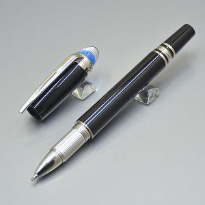 Luxo Gift Set Pen MB Marca Senior Black Resin Roller Ball pen Com bonito Blue Crystal Office Design Negócios Stationery Write Refill Pens