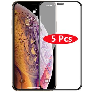 5Pcs Full Cover Tempered Glass for iPhone 11 Pro Max 6 6s 7 8 Plus Screen Protector for iPhone X XS Max XR 5 5s 5C SE Film Case