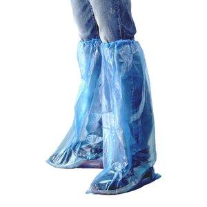 ASDS-40 paquetes cubrezapatos desechables de agua azul zapatos y botas de plástico cubierta de zapato larga claro de la cubierta impermeable antideslizante Chanclo