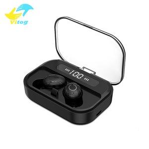 Vitog T11 اللاسلكية سماعة TWS 5.0 الألعاب سماعة مقاوم للماء مع شاشة LED الذكية 1500 ماه قوة البنك 9D ستيريو بلوتوث سماعات