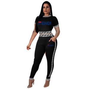 Trainingsanzug Frauen Print Zweiteiler Kurzarm Tops Lange Hosenanzug Mode Lässig Weiblichen Sommer Sportwear Sportsuits Set Outfit ...
