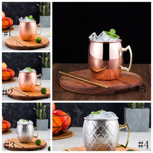 new 500-600ml Moscow Mule Mug Copper Mug Stainless Steel beer cup Rose Gold Hammered Copper Plated Drinkware EEA172