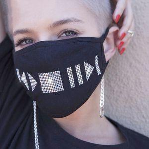 20pcs rosto designer de mascarar moda feminina máscaras preto máscara facial halloween Dustproof de flash estrela máscara de algodão strass diamante