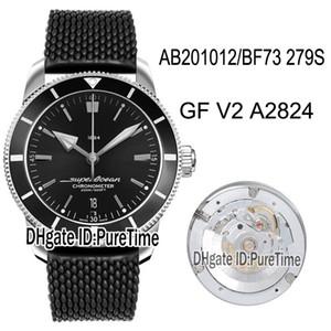GF Superocean Heritage II 42 ETA A2824 automatique Mens Watch AB201012 / BF73 279S Noir Lunette Cadran Noir en caoutchouc Meilleure édition New Puretime A14
