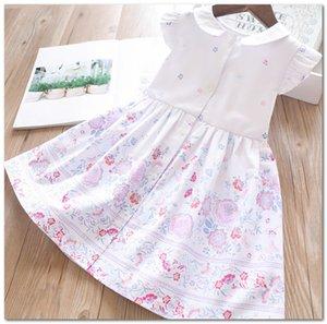 ragazze di estate si vestono 2020 nuovi ragazzi floreali stampati bambini del vestito principessa bambola risvolto falbala singola manica fly petto pieghe J2644 vestito