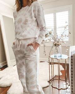Fashion Round Neck Printed Long Sleeve Sweatshirt Two-Piece Set