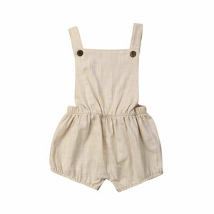 2020 New Verão da criança do bebê Crianças Meninos Roupa Causal bege mangas Romper Backless Macacão Conjuntos macacão de algodão sunsuit