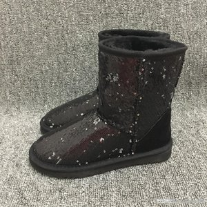Fashion Women Snow Boots Bling Sparkles Australian Style Winter Warm Short Lady Boots Brand Ivg Black Plus Size US3-14