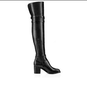 Modo delle signore inverno di qualità cuoio genuino del nero sopra il ginocchio stivali inferiore rossa Karialta donna Coscia-alta caricamenti del sistema all'ingrosso