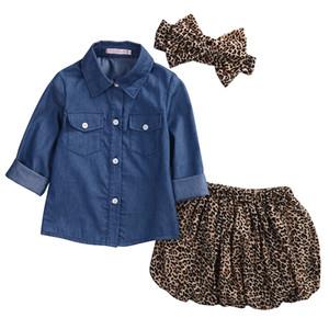 3PCS Set criança crianças Bebés Meninas de Verão roupa Outfit denim camisa + short Leopard Saia Set Roupa para meninas