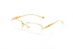 تنطبق شبه نظارات حافة مربع من مصمم العلامة التجارية شقة إطار الأنف ملحقات الأجهزة الذهب للرجال والنساء مع الدرع الواقي