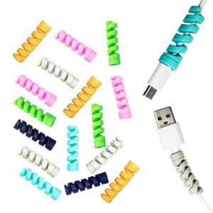Protetor de cabo em espiral data cabo de carregamento cabo de proteção para iphone samsung macbook universal tampa do cabo do fone de ouvido