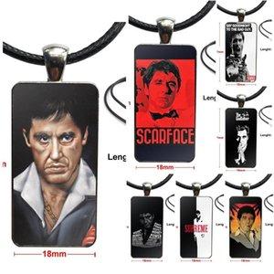 Pour Collier verre Design Cadeau de Noël Mode Vintage Femmes Rectangle Pendentifs film Scarface Tony Montana Incroyable