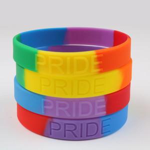 Bracciali in silicone Rainbow Colore Braccialetti in silicone LGBT PRIDE Bracciali in gomma gay Pride gioielli arcobaleno Braccialetto da polso Party Favore FFA2612