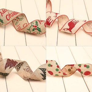 Drop Ship&Wholesale Xmas Ribbon Letters Printing Christmas Tree Ornament Ribbons Holiday Party Decor Nov.28