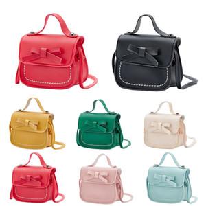 2019 de Moda de Nova Criança bebê Mensageiro sacos das fraldas das crianças das crianças meninas Ombro PU Bag Bolsa bowknot Princesa Crossbody Bag