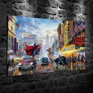 HD Impresso Thomas Kinkade Pintura A Óleo de Decoração Para Casa Arte Da Parede na Lona Batman, Superman e Mulher Maravilha Sem Moldura