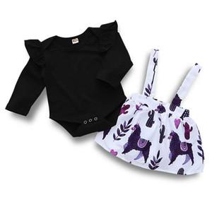 Bebés Meninas macacãozinho + Suspender Calças Conjuntos Primavera 2020 Boutique do bebê Roupa Euro America infantil Toddlers mangas compridas 2 PC Set