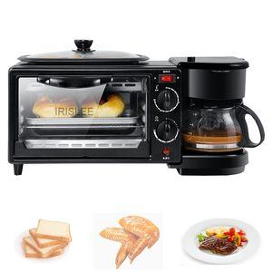 LEWIAO Haushaltselektro 3 in 1 Frühstück, die Maschine Multifunktionsmini-Drip Kaffeemaschine Brot Pizza Bratpfanne Toaster