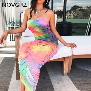 Novgirl Kravat Boya Straplez Seksi Bodycon Dantelli Uzun Elbise Kadın 2019 Yaz Kapalı Omuz Moda Stetchy Parti Elbiseler
