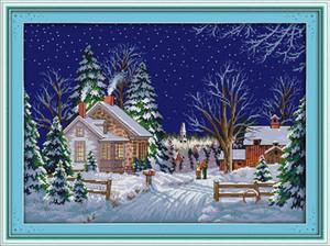 O país anda inverno sonw casa decoração da casa pintura, Handmade Cross Stitch Bordado conjuntos de costura contados impressão sobre tela DMC 14CT / 11CT