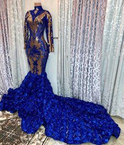 2020 alta Neck mangas compridas Mermaid Prom Vestidos Gold Lace Applique 3d Floral Saia Varrer Vestidos Train vestidos de noite formal do partido