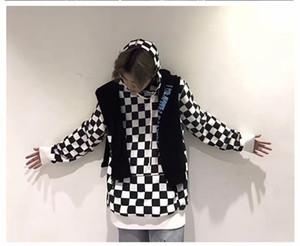 بلايز مصمم رجالي أنماط شطرنج هوديس الرجال طويل SleeveThick الشتاء الملابس شارع الأزياء الهيب هوب أوم