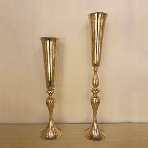 90cm / 74cm Vaso da tavolo in metallo titolare di fiori per la decorazione di nozze tavolo vasi di fiori centrotavola per Mariage all'ingrosso