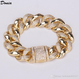 Donia Jewelry Fashion European and American copper micro inlaid zircon Cuba bracelet box buckle men's hip hop style jewelry